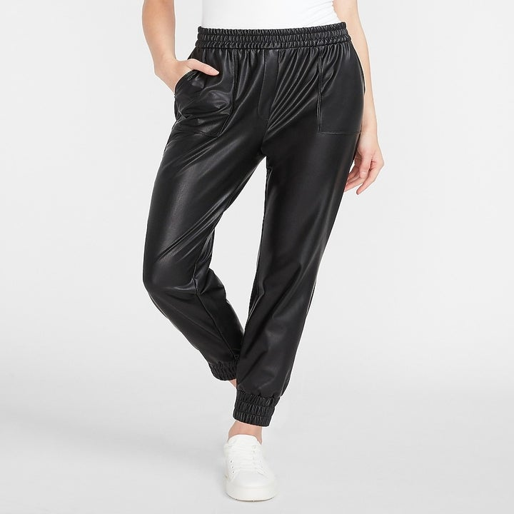 model wearing faux leather joggers