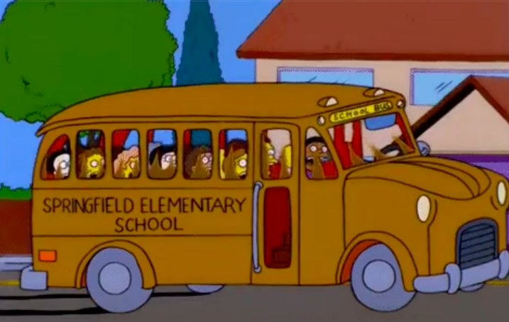 The school bus from the Simpsons full of kids