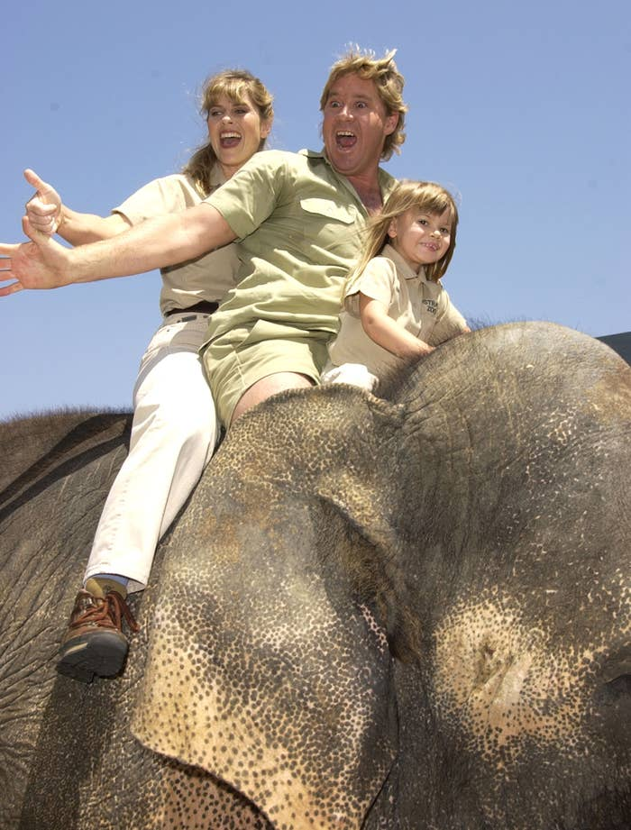 """Steve Irwin, Terri Irwin and daughter Bindi Irwin ride at elephant during """"The Crocodile Hunter: Collision Course"""" Premiere at Arclight Cinerama Dome in Hollywood"""