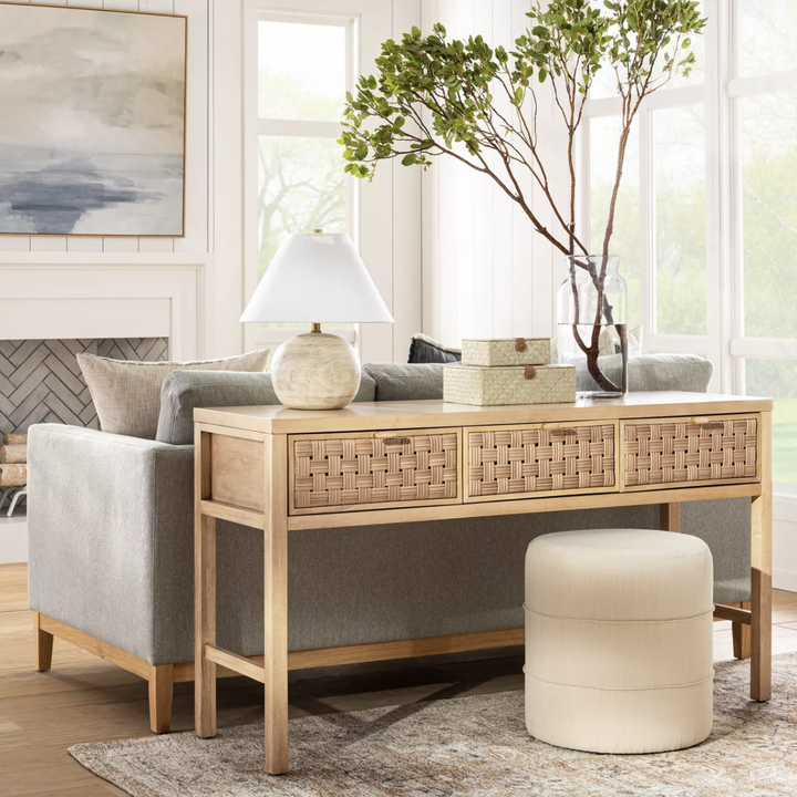 woven wood three-drawer console
