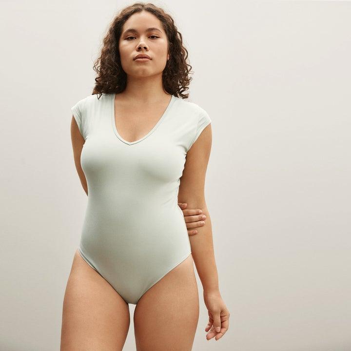 model wearing v-neck short-sleeved bodysuit