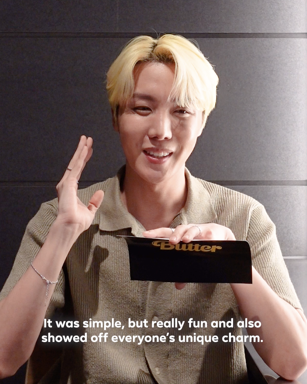 """J-Hope saying, """"It was simple, but really fun and also showed off everyone's unique charms."""""""