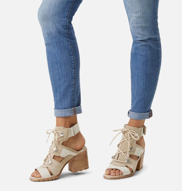 model wearing the chunky heel open toe sandals