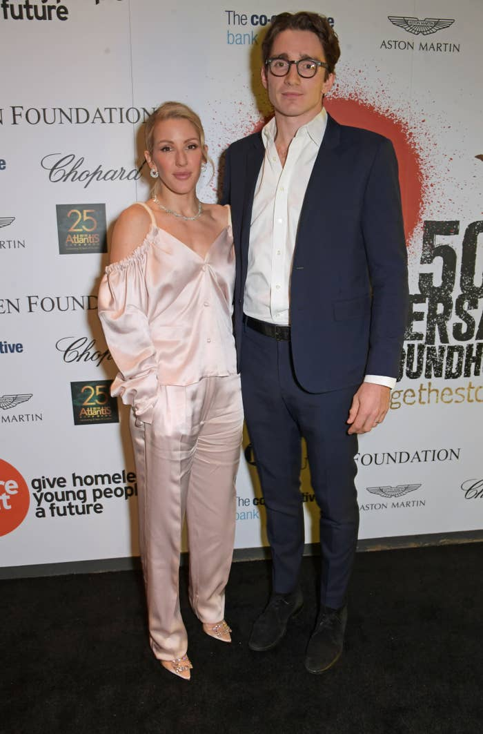 Ellie Goulding and husband Caspar Jopling pose at a Centrepoint event to mark the charity's 50 years of tackling youth homelessness, at The Roundhouse on November 13, 2019 in London, England