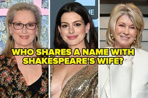 """On the left, Meryl Streep, in the middle, Anne Hathaway, and on the right, Martha Stewart with """"Who shares a name with Shakespeare's wife?"""" typed on top"""