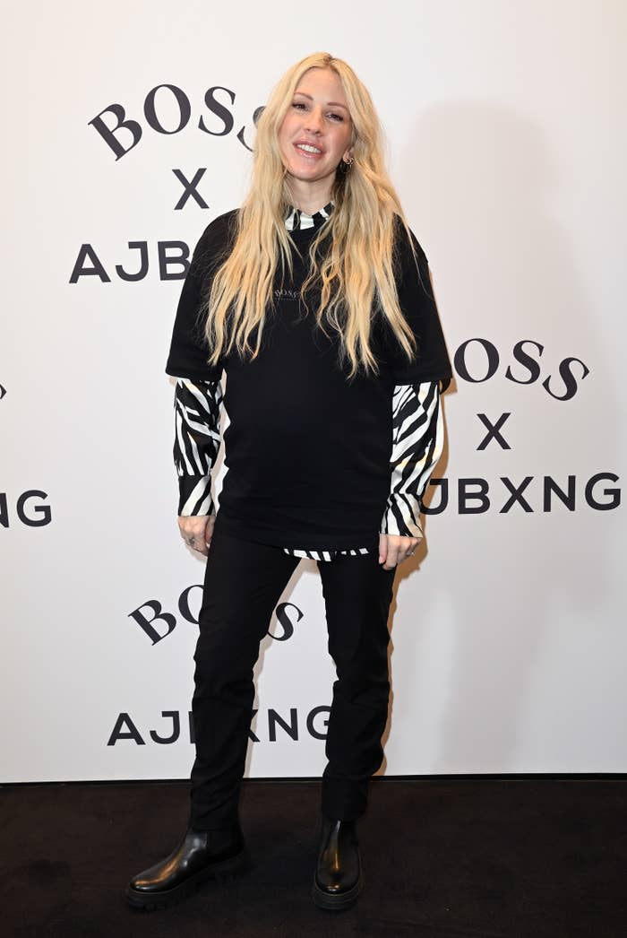 Ellie Goulding smiles while attending the unveiling of the new BOSS x Anthony Joshua Collection on February 24, 2021 in London, England