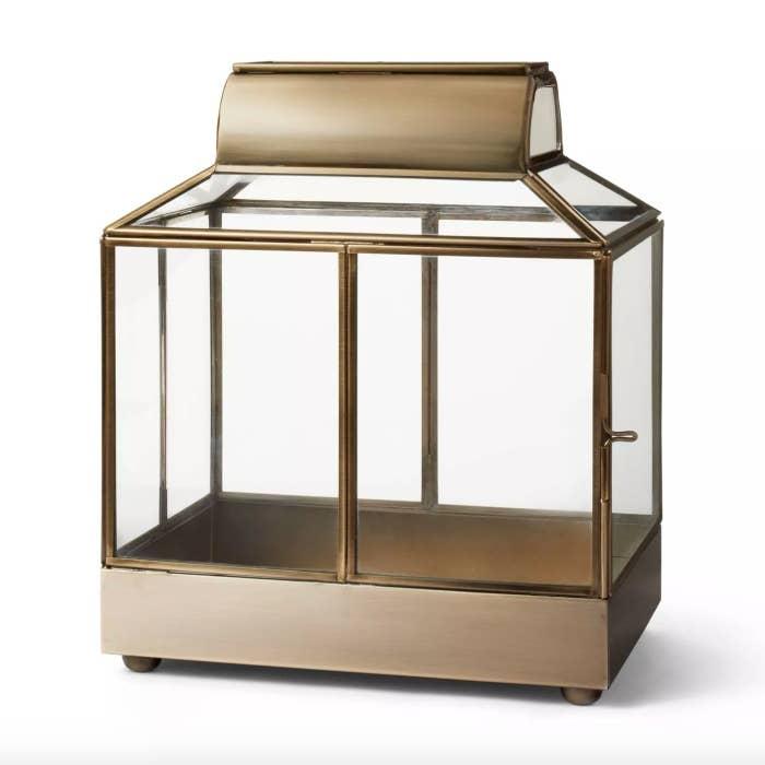 Glass and brass terrarium
