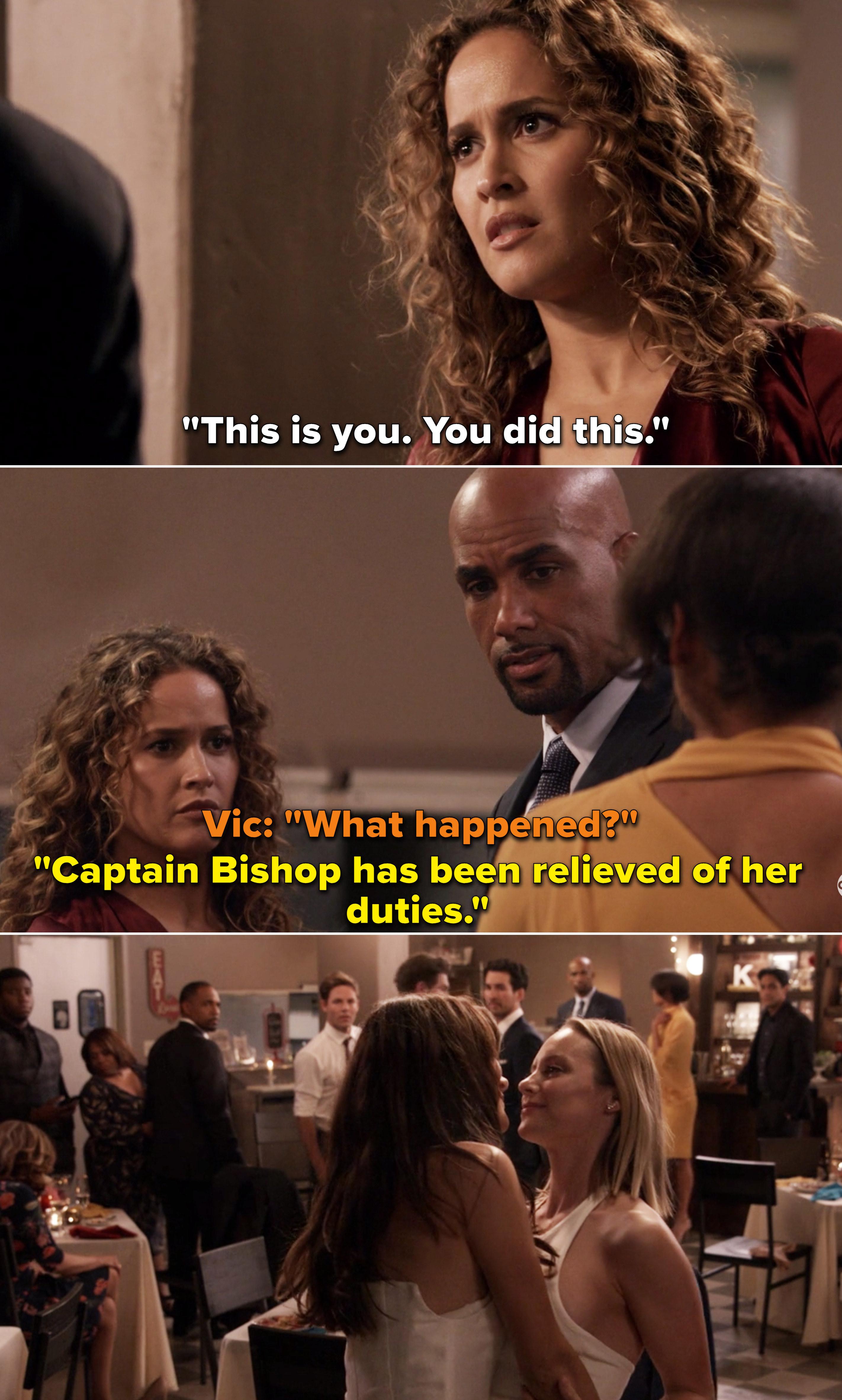 """Sullivan telling everyone, """"Captain Bishop has been relieved of her duties"""""""