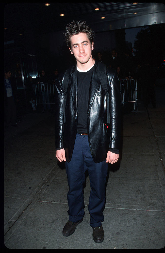 in an awkward leather jacket