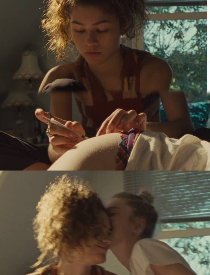 Rue looks on determinedly as she injects a syringe of hormones into Jules' thigh and then Jules kisses Rue's cheek.