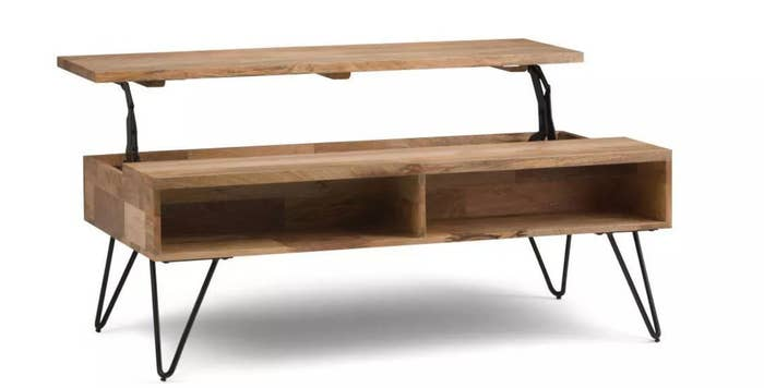 The wood coffee table