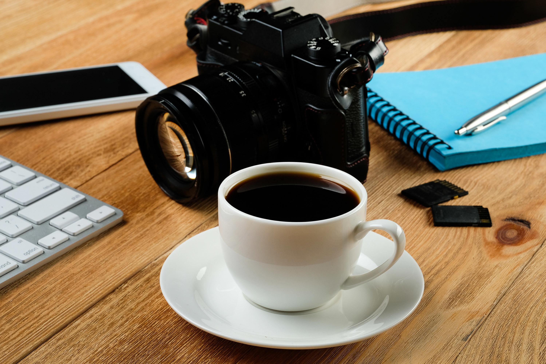 A camera on a desk