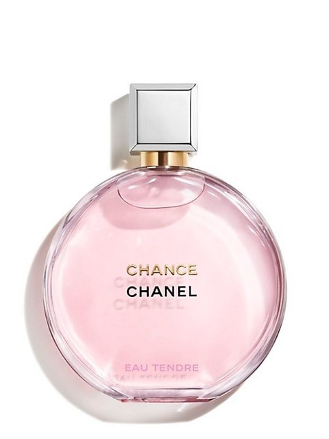 pink bottle of the perfume chance by chanel