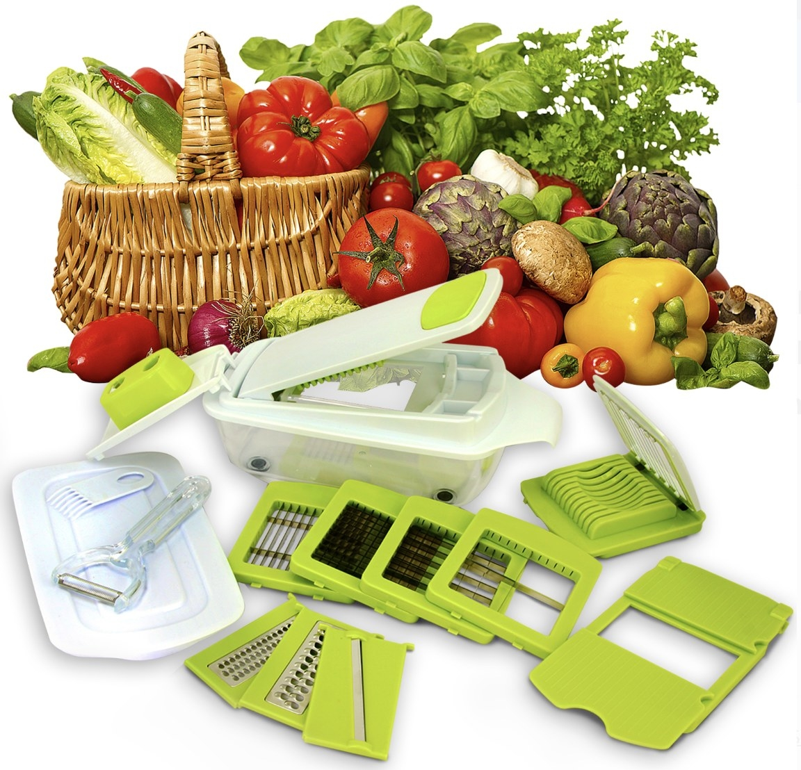 The green and white slicing set and assortment of veggies fill the frame