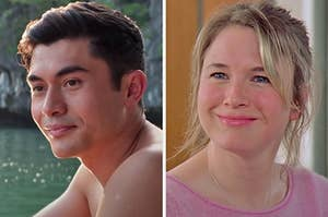 """On the left, Henry Golding as Nick in """"Crazy Rich Asians,"""" and on the right, Renee Zellweger as Bridget in """"Bridget Jones's Diary"""""""