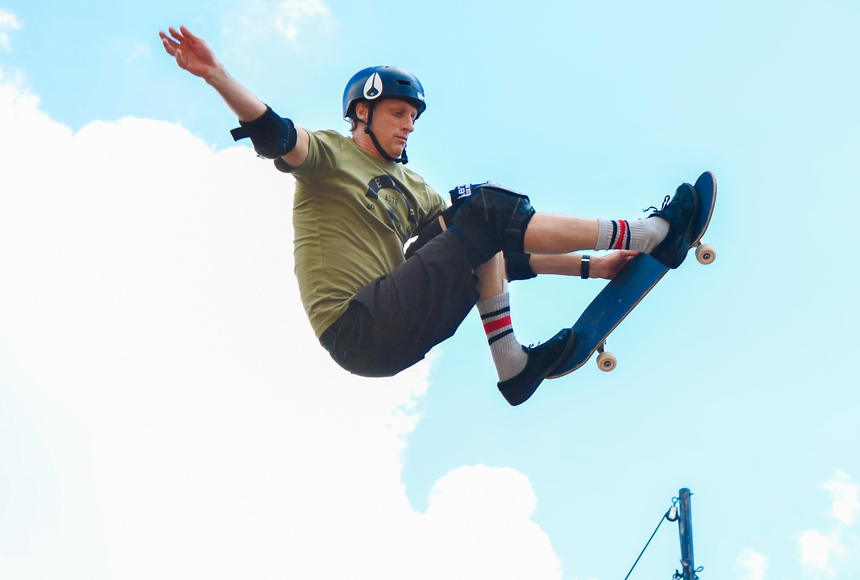 Photo of Tony Hawk skateboarding