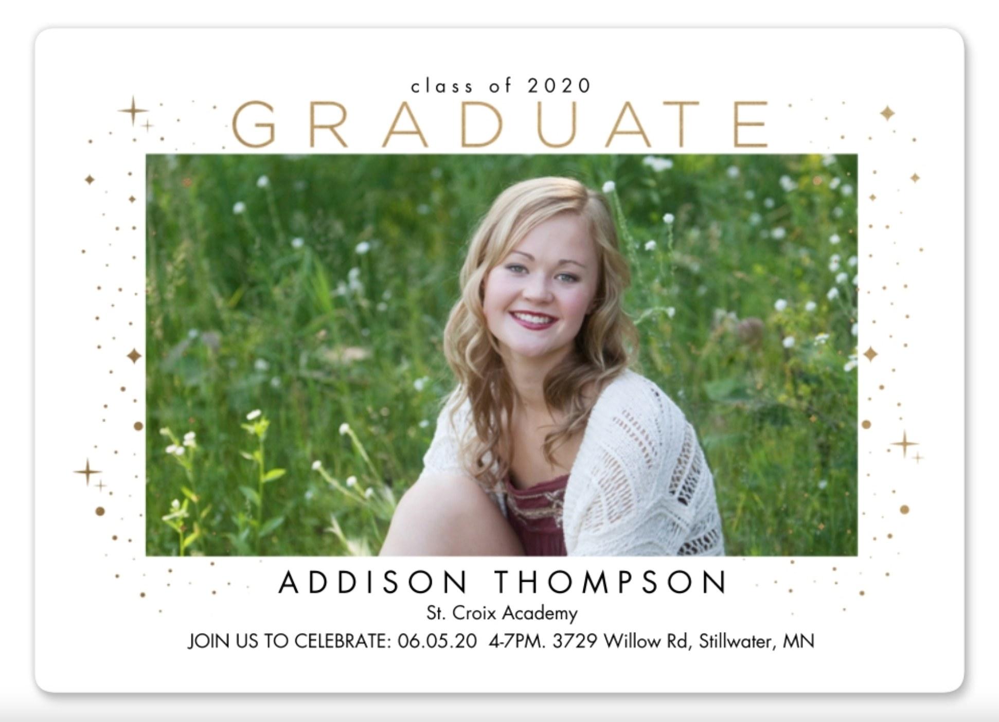The photo graduation invite in white