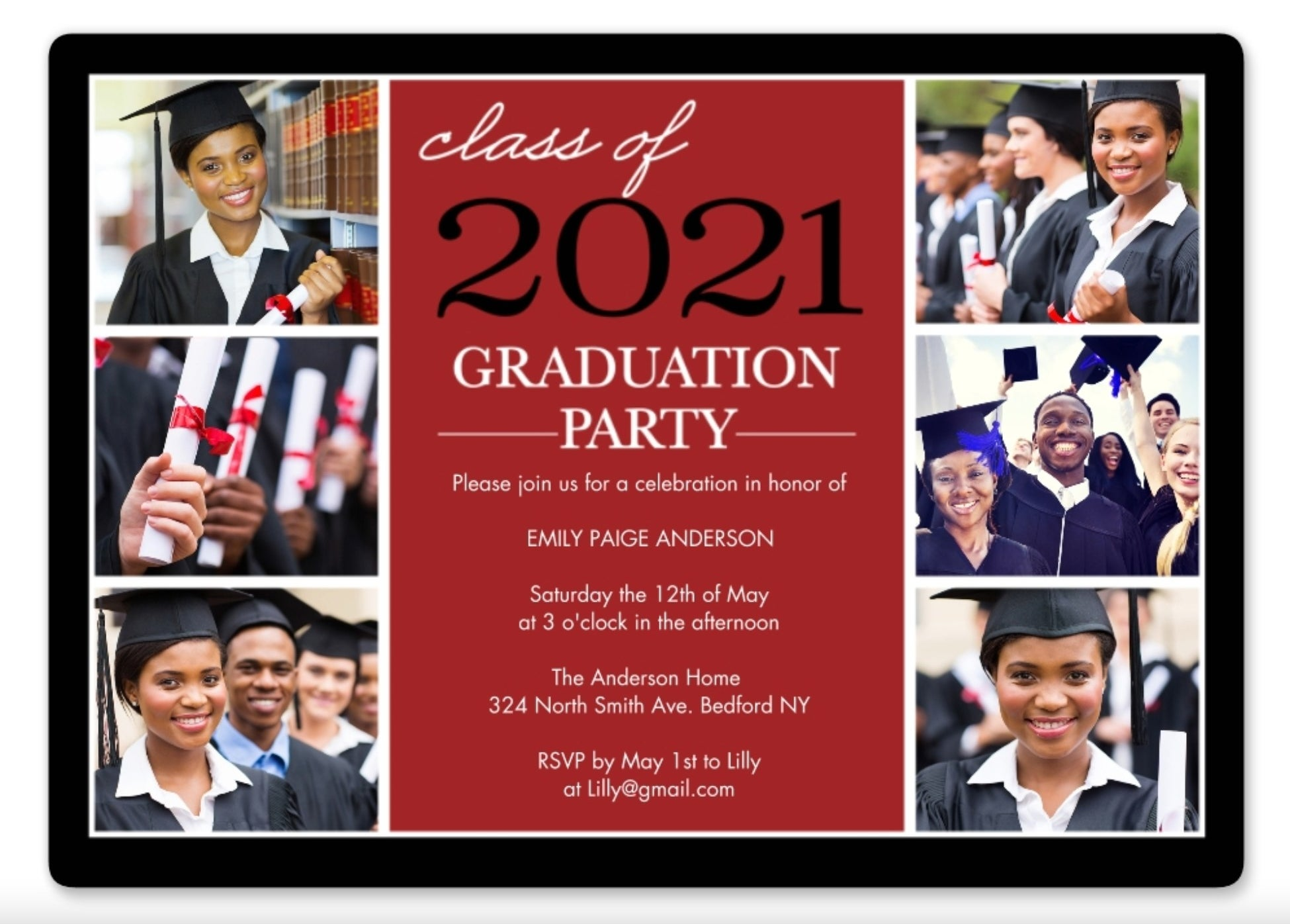 The graduation invite in red, white, and black font