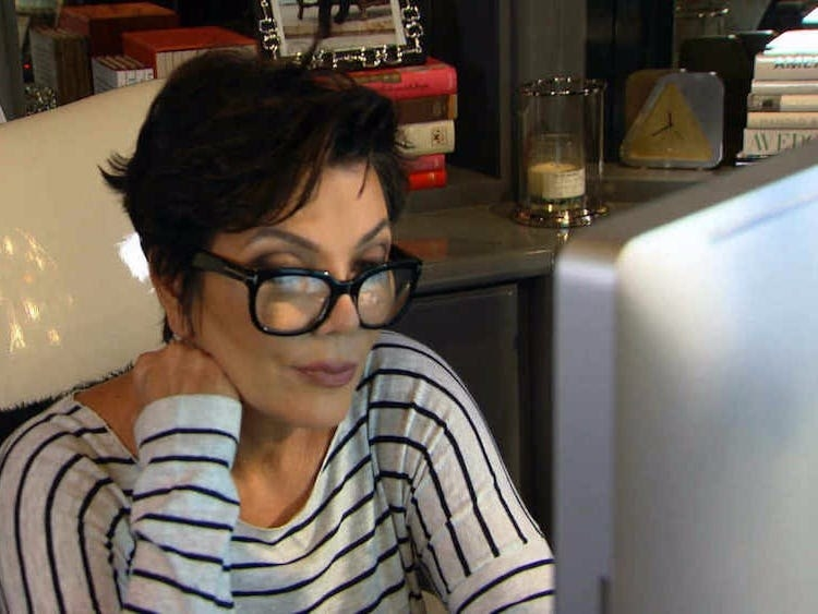 kris jenner on a computer