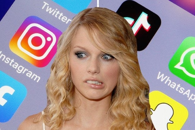 Taylor swift looking worried over some apps