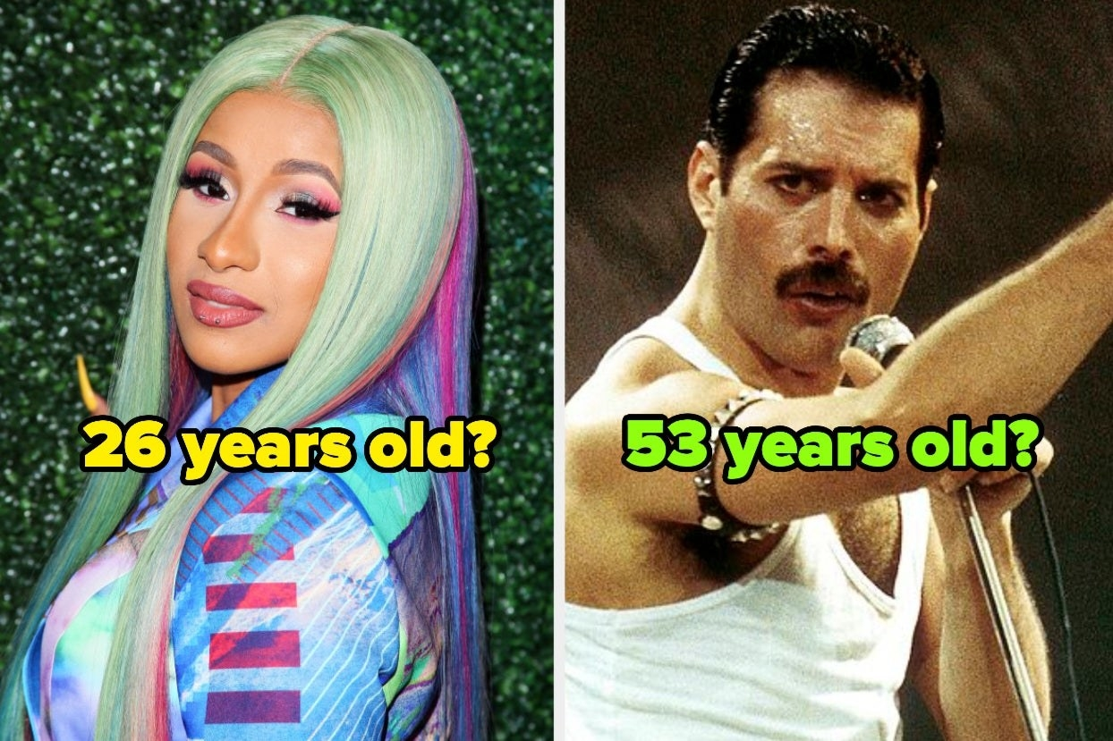 Cardi B with the age 26 years old over top and Freddie Mercury with the age 53 years old over top