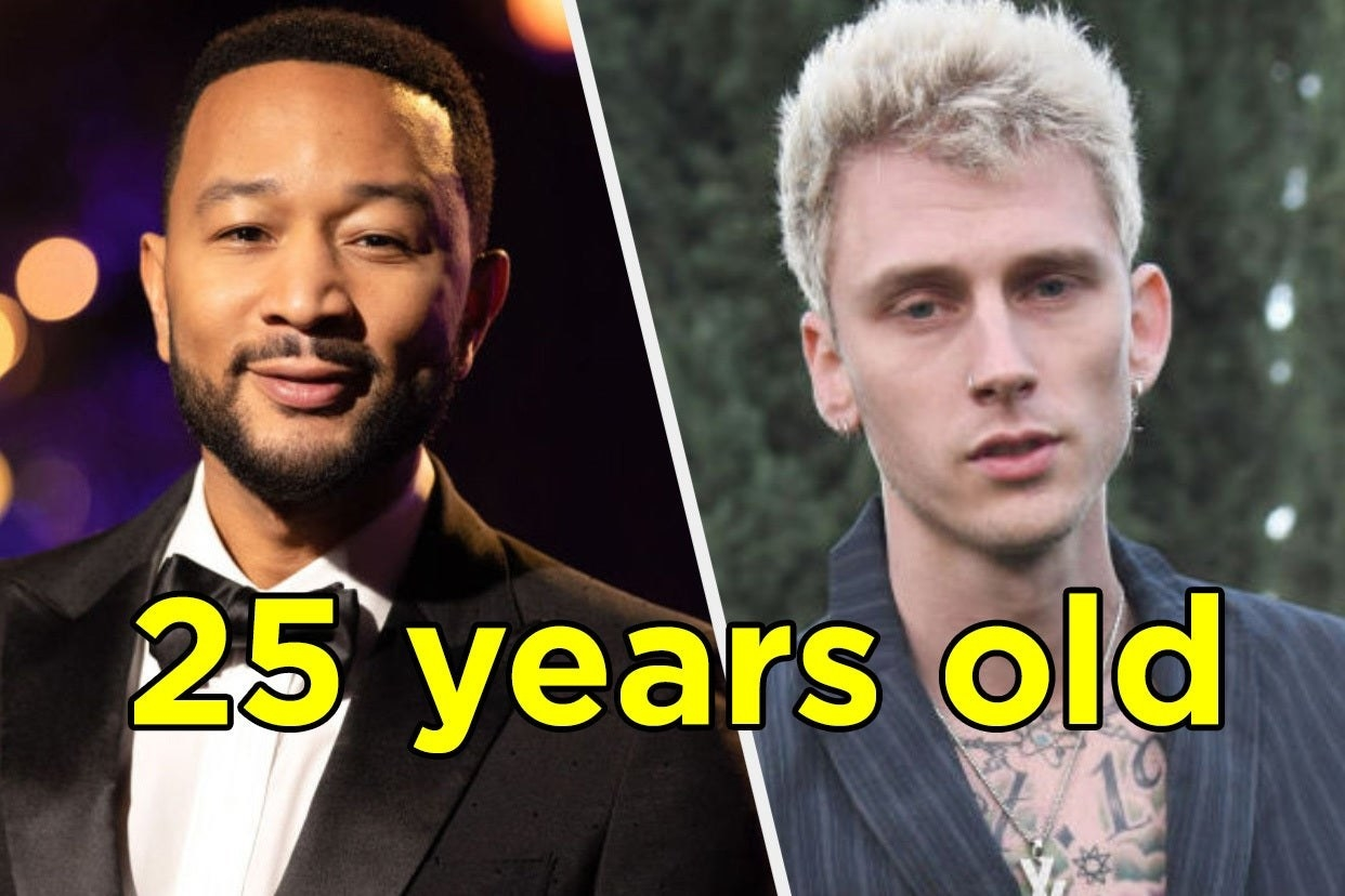 John Legend and Machine Gun Kelly with the age 25 years old written over top