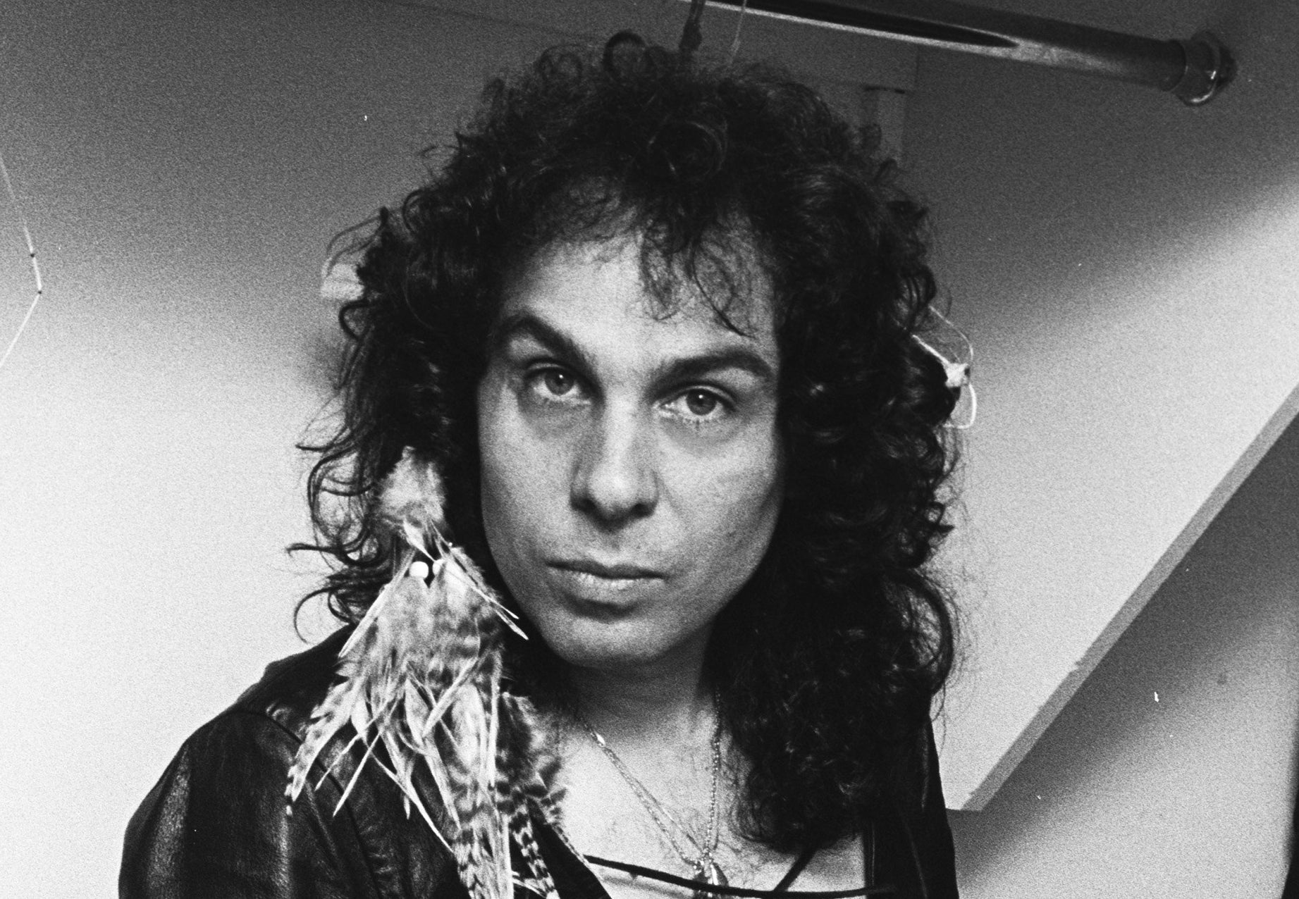Black-and-white photo of Ronnie James Dio after a concert