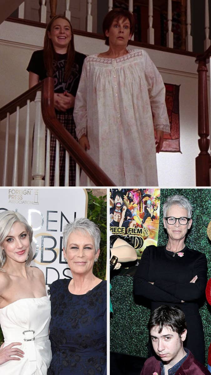 Top: Jamie Lee Curtis with her TV child Lindsay Lohan. Bottom: Curtis with her children Thomas and Annie Guest