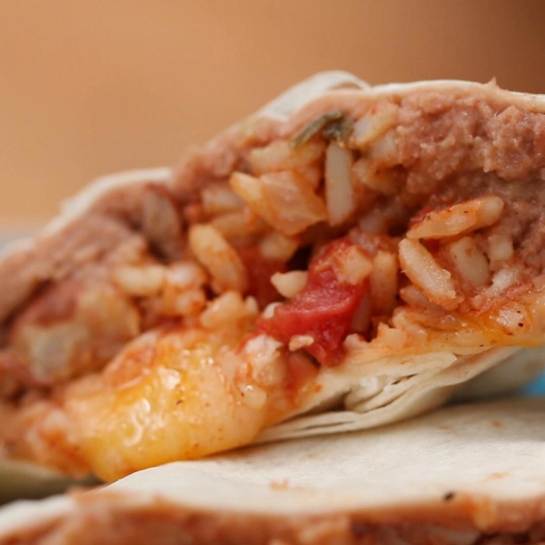 Cheesy quesadilla with rice and beans