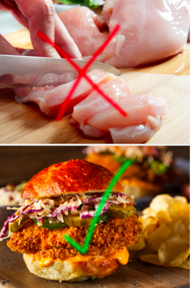 A red X over a picture of raw chicken and a green arrow over a fried chicken sandwich