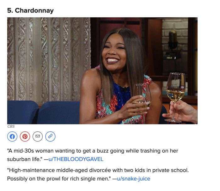 a screenshot of the article, saying chardonnay is for suburban divorcées