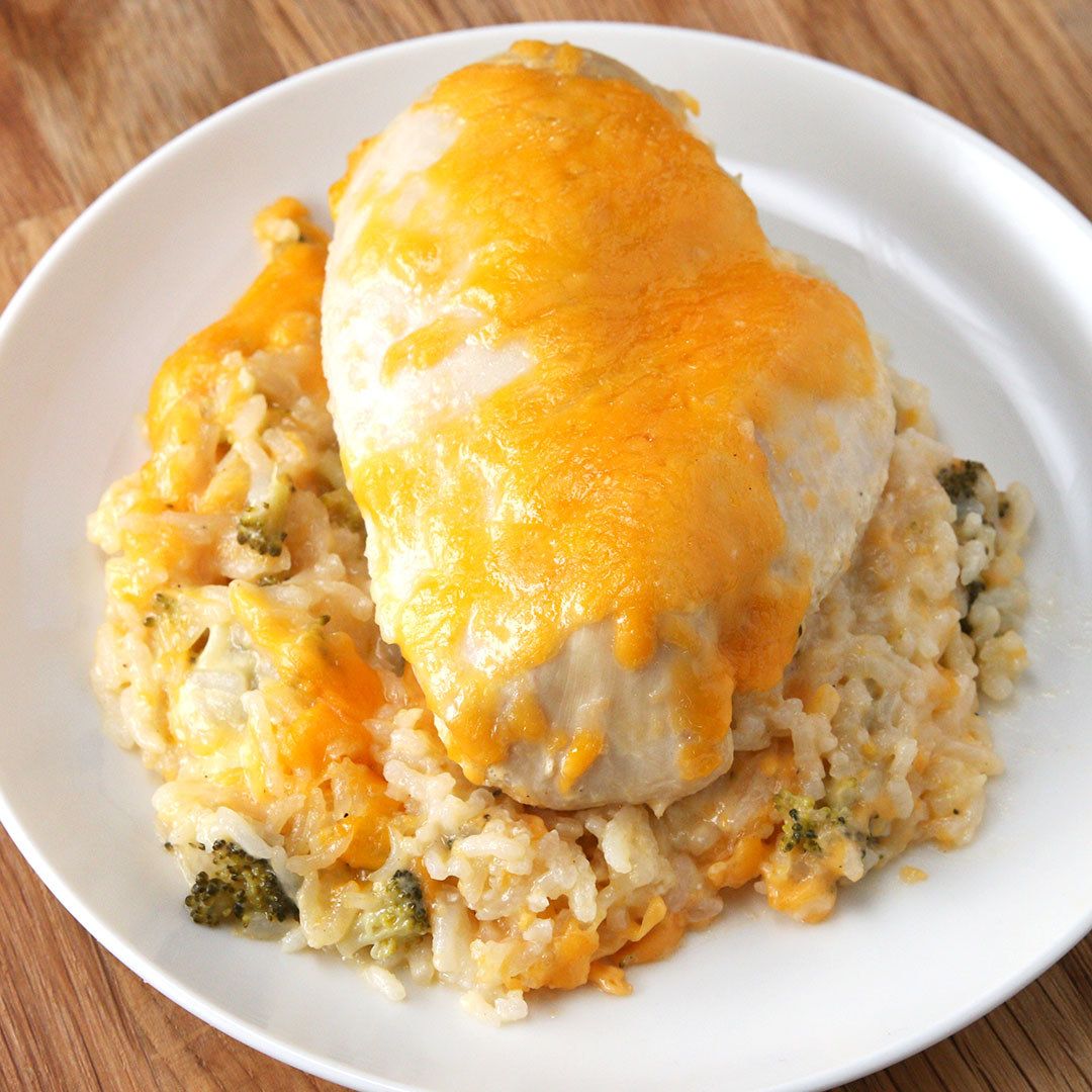 Cheese-covered chicken and rice