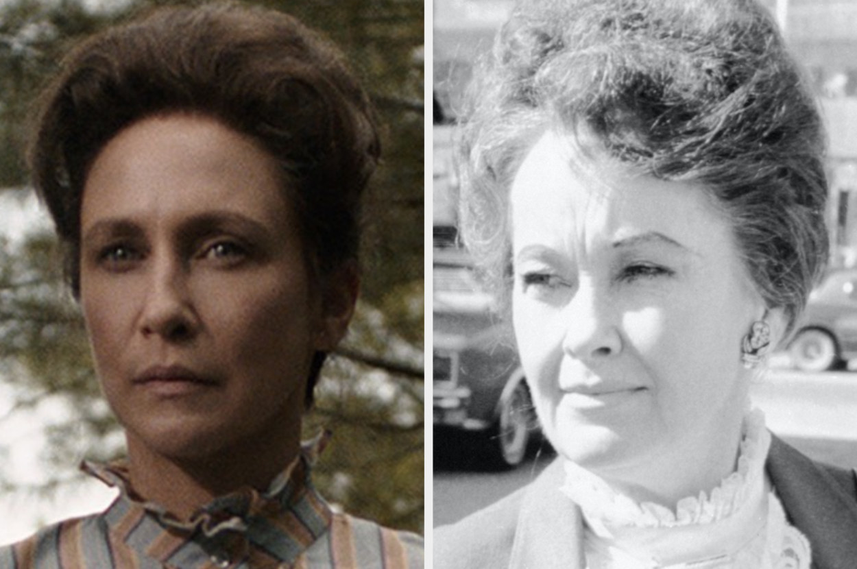 A photo of Vera with an updo side-by-side with a black-and-white photo of Lorraine with a similar updo