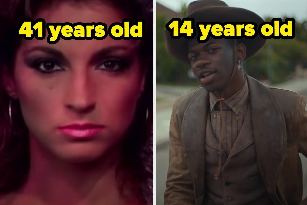 "Gloria Estefan with ""41 years old"" over her head and Lil Nas X with ""14 years old"" over his head"