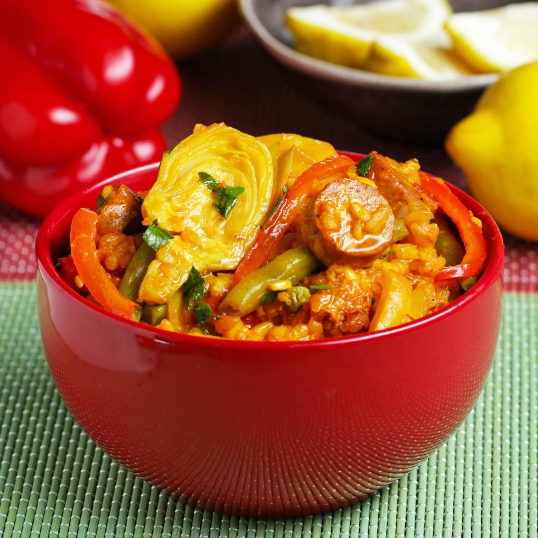 Bowl of spicy paella