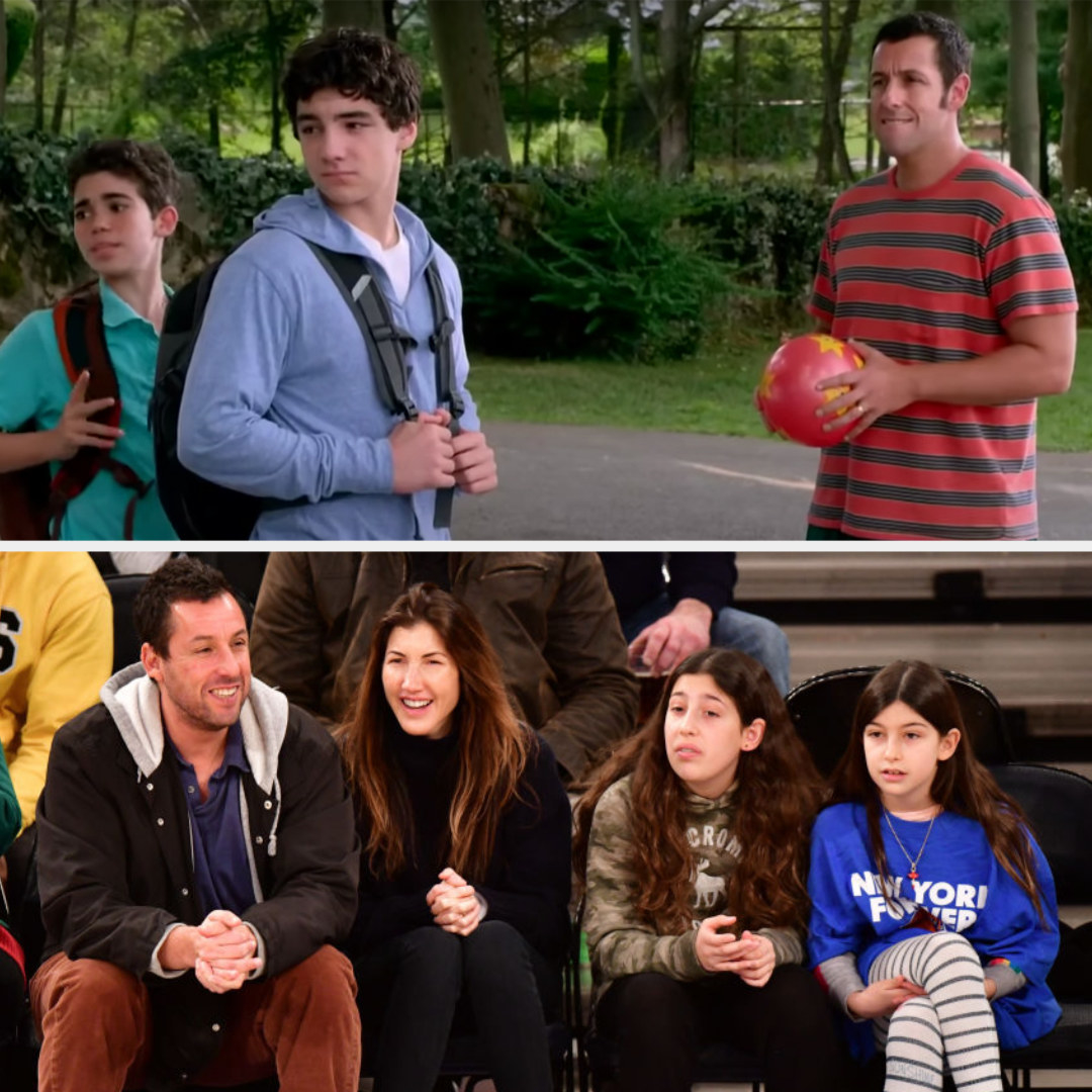 Top: Adam Sandler with his fictional sons in Grown Ups Bottom: Adam Sandler with his wife and daughters, Sadie and Sunny