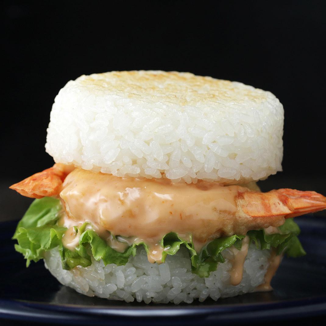 Shrimp burger between rice buns