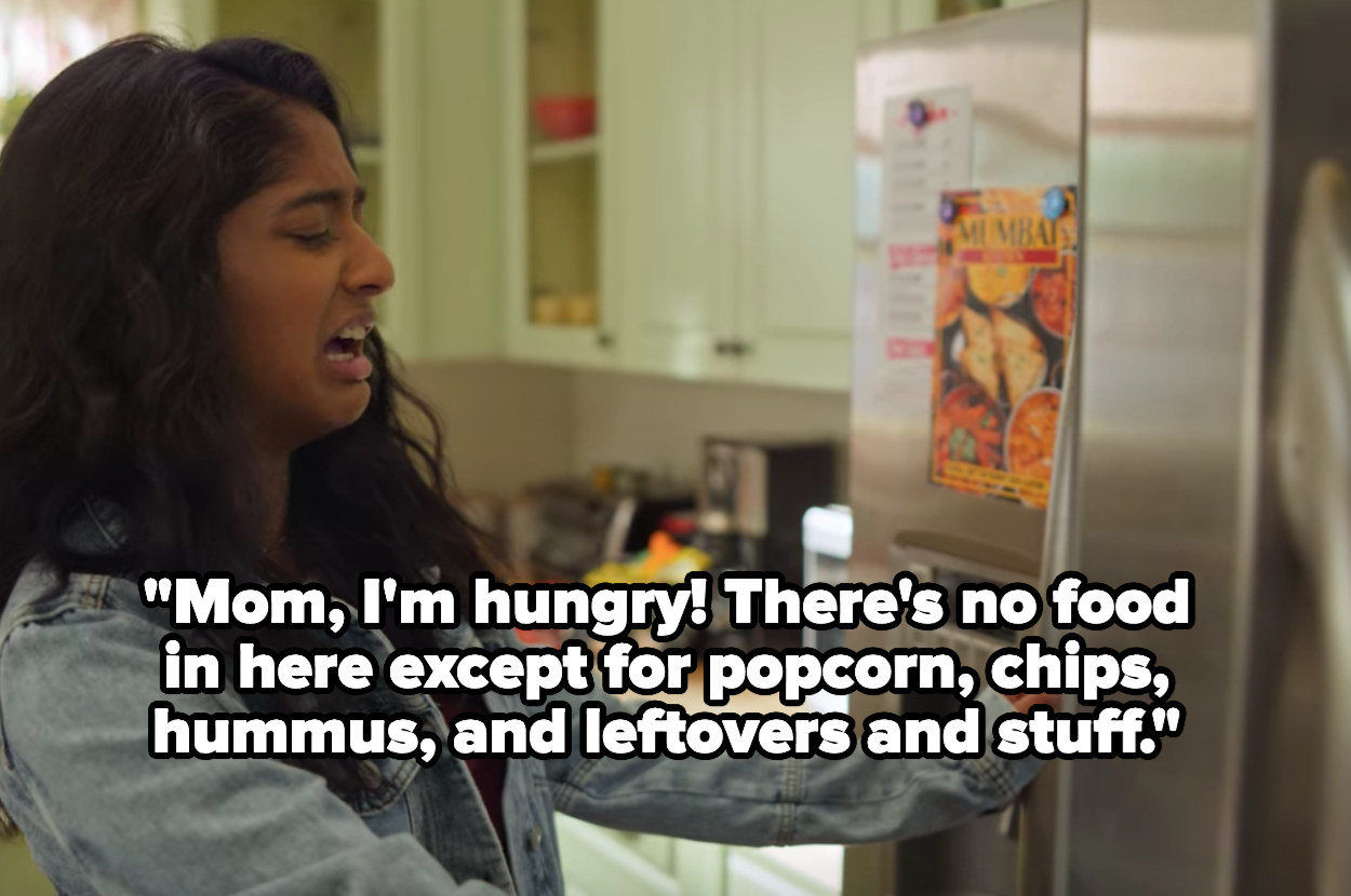 """Devi from """"Never Have I Ever"""" looking in the fridge for food"""