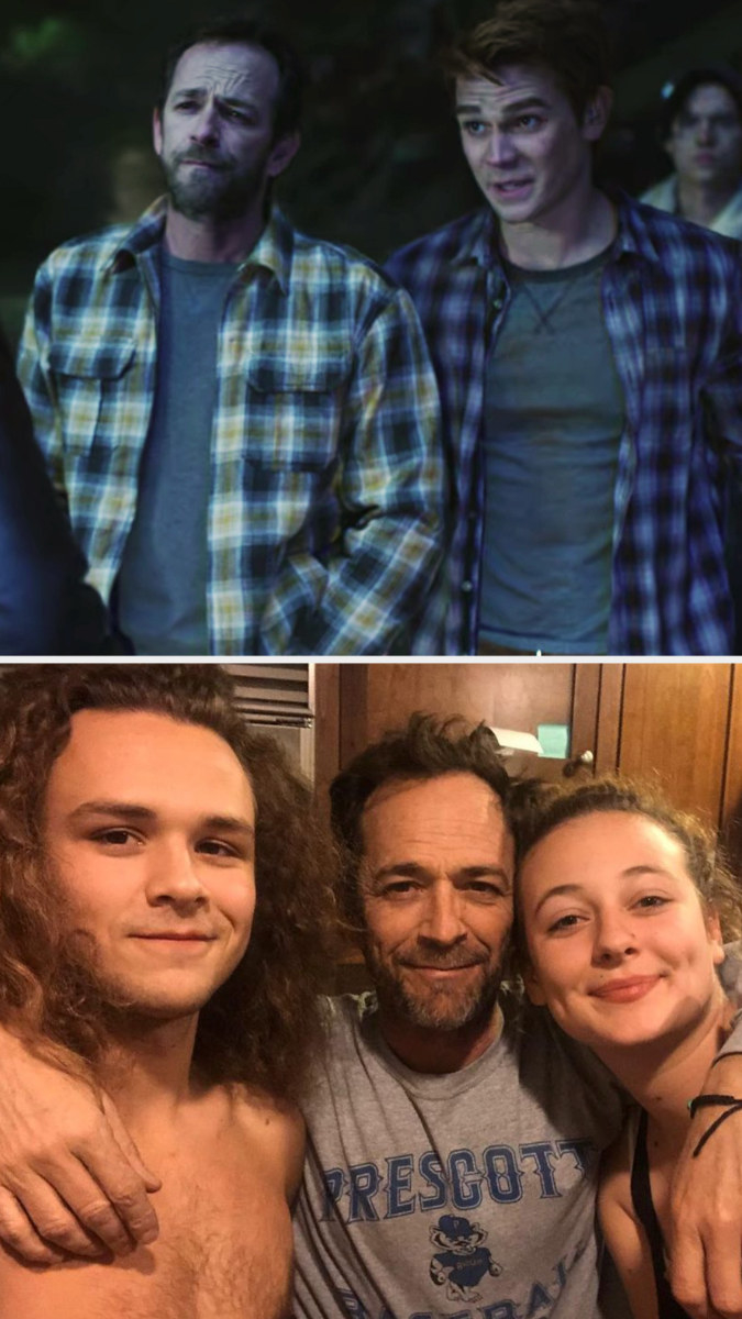 Top: Luke Perry in character as Fred Andrews standing next to KJ Apa who is also in character as Archie Andrews Bottom: Luke Perry with his arms around his children Jack Perry and Sophie Perry
