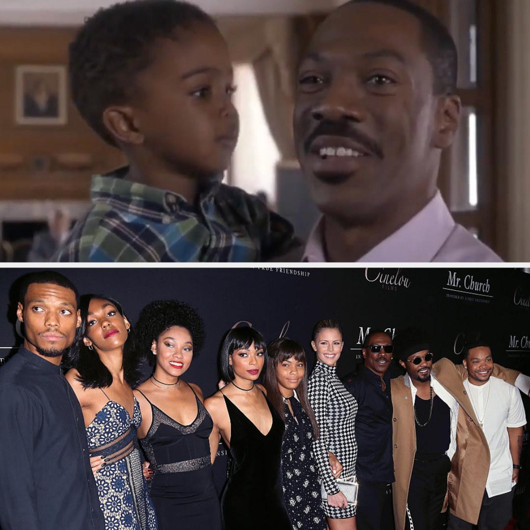 Top: Eddie Murphy holding his TV baby Bottom: Eddie Murphy with his seven children