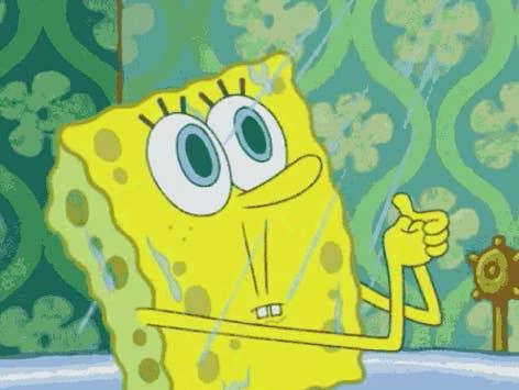 "SpongeBob looking shocked in the shower in ""SpongeBob SqaurePants"""