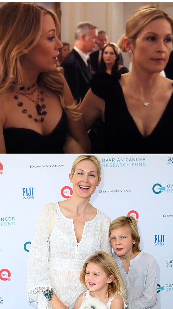 Top: Kelly Rutherford in character as Lilly van der Woodsen with Blake Lively who is in character as Serena van der Woodsen Bottom: Kelly Rutherford with her children Hermés and Helena