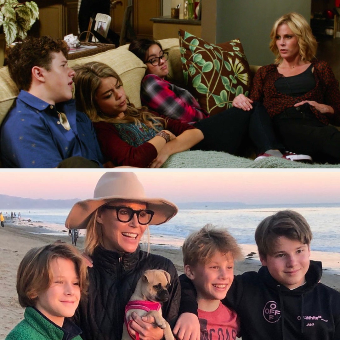 Top: Julie Bowen in character as Claire Dunphy with her TV family Bottom: Julie Bowen with her children at the beach