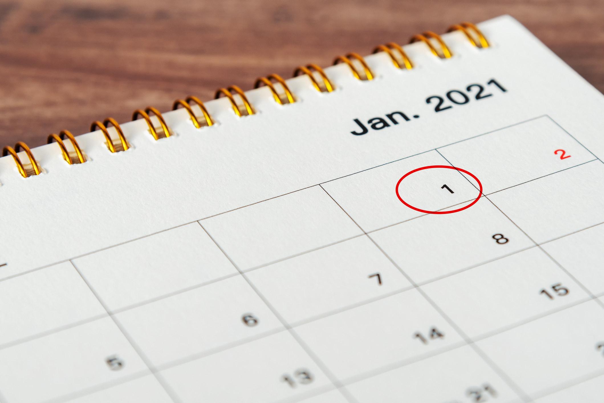 A calendar with January 1st circled