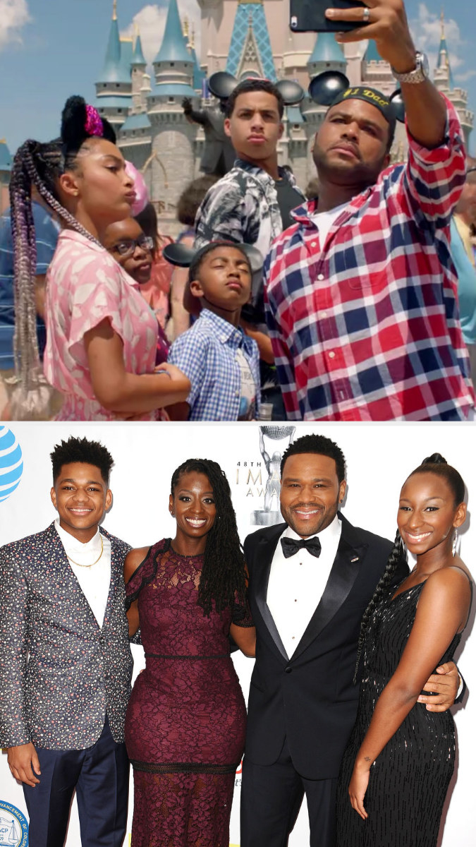 Top: Anthony Anderson in character as Andre Johnson with his TV children in Black-ish Bottom: Anthony Anderson with his wife, son, and daughter