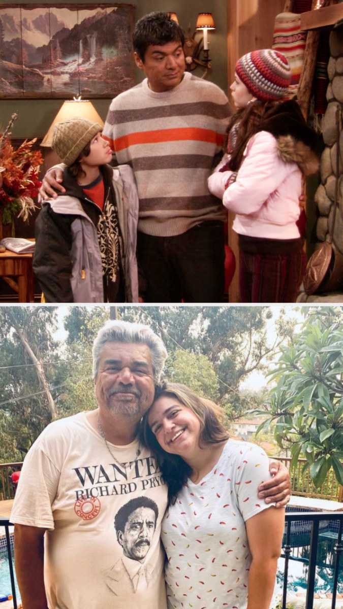 Top: George Lopez with his TV children at a lodge Bottom: George Lopez standing next to his daughter Mayan Lopez