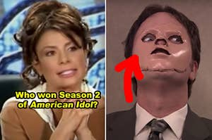 """Side-by-side of Paula Abdul on """"American Idol"""" and Dwight in """"The Office"""""""