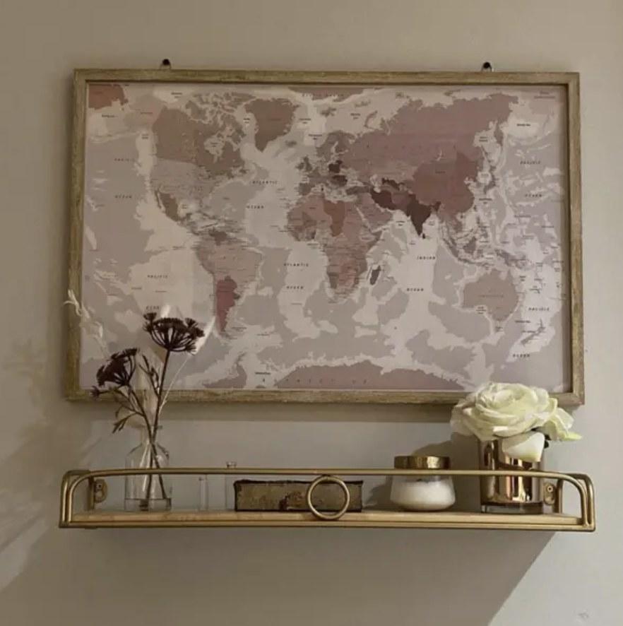 Decorative shelf hanging on wall