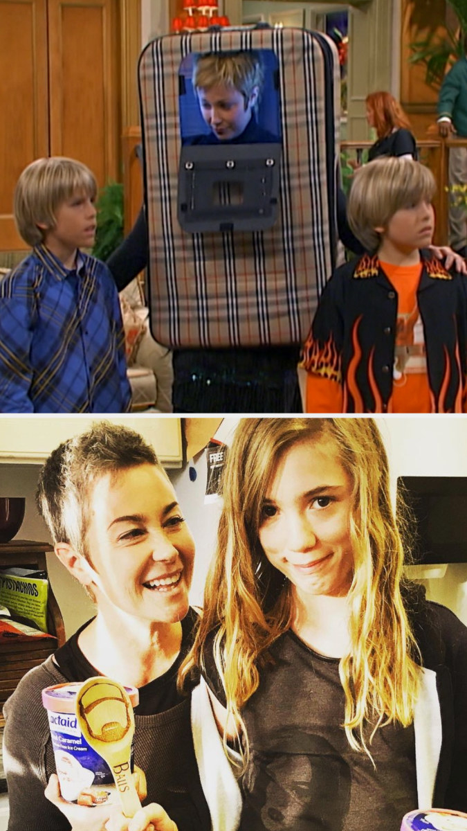Top: Kim Rhodes in character as Carey Martin sitting next to her co-star TV children Cole and Dylan Sprouse Bottom: Kim Rhodes holding pints of ice cream with her child Tabitha Hodges