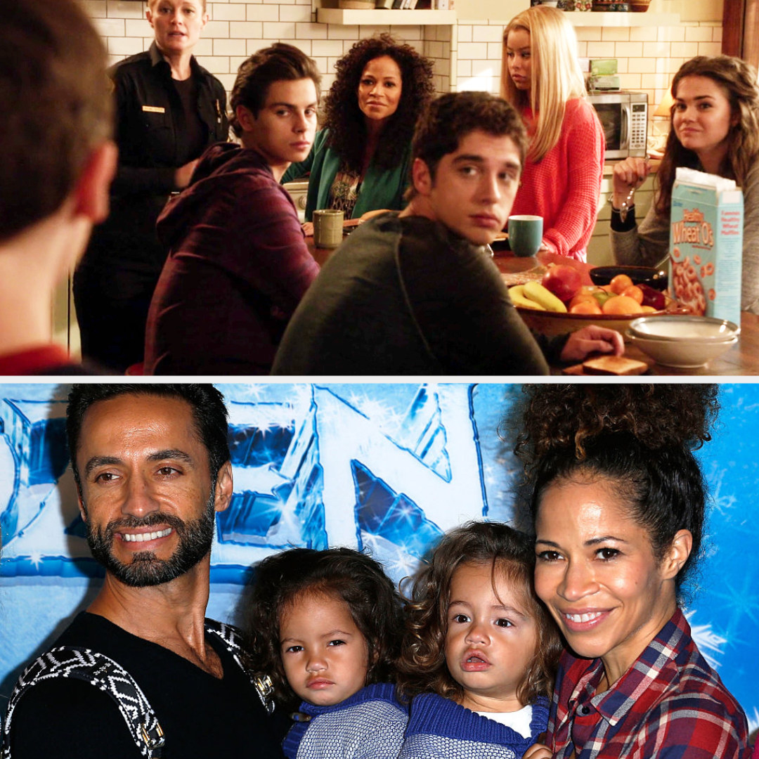 Top: Sherri Saum with her fictional TV children and wife, Bottom: Sherri Saum with her husband and her children John and Michael